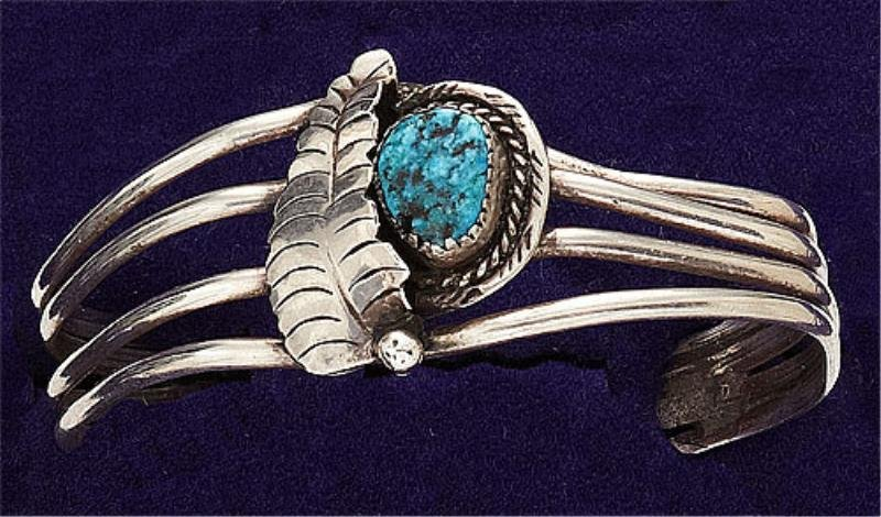44: Turquoise and Silver Cuff