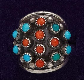 Turquoise And Coral Dome Ring