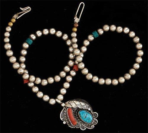 76: Navajo Beaded Pendant Necklace