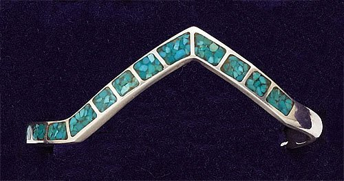 79: Turquoise inlaid Silver Cuff