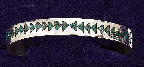 80: Silver and Turquoise Cuff