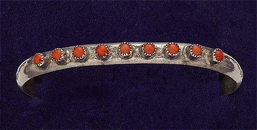 81: Silver and Coral Cuff