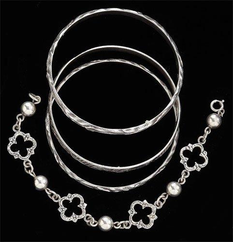 85: Sterling silver bracelets,