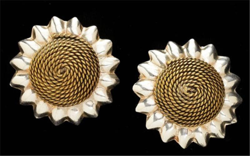 88: Mexican Silver Sunflower Earrings