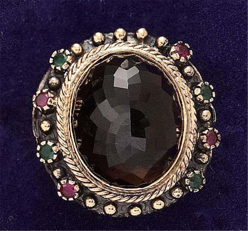 101: Smoky quartz, emerald and ruby ring