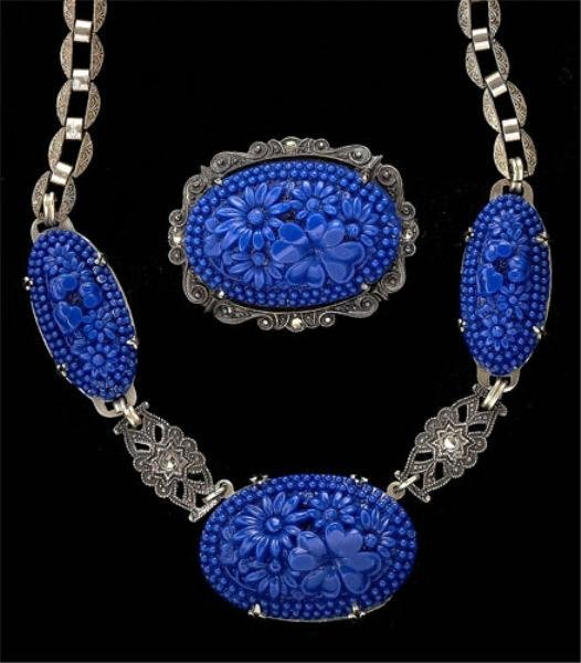 102: Blue floral carved stone necklace