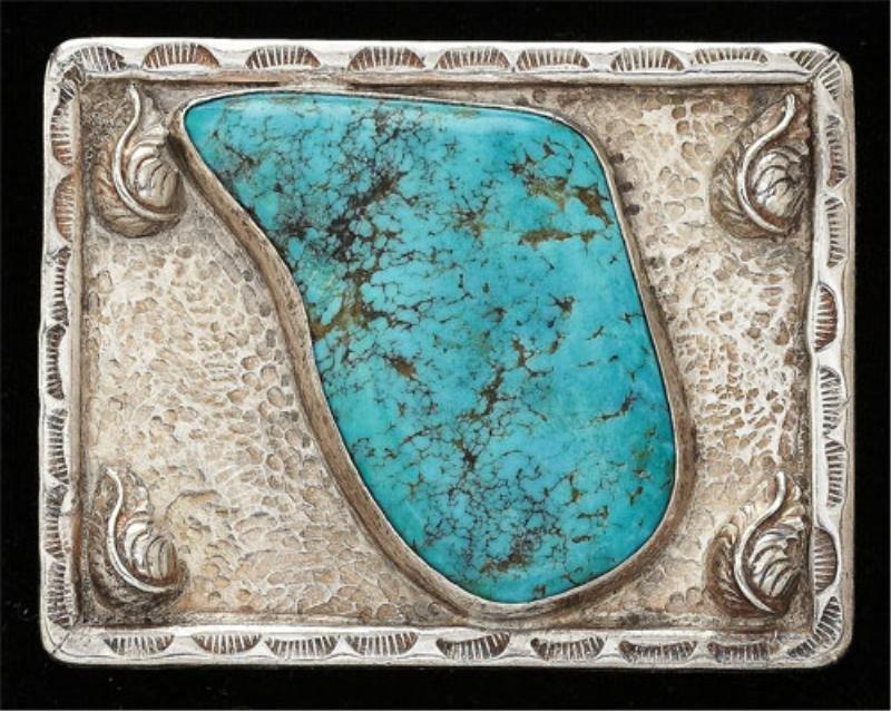 110: Navajo sterling silver gem-set belt buckle