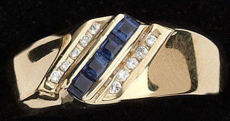 112: Sapphire and Diamond Man's Ring