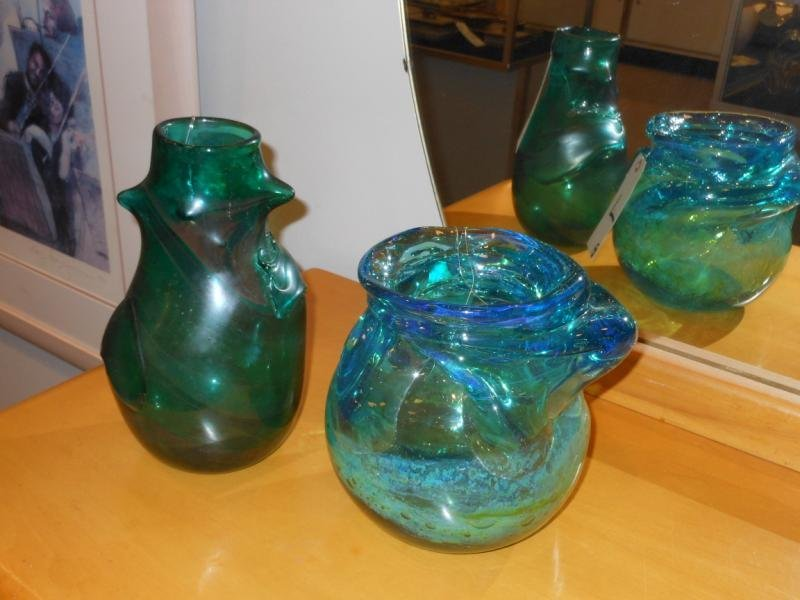 7: TWO LAVA GLASS VASES