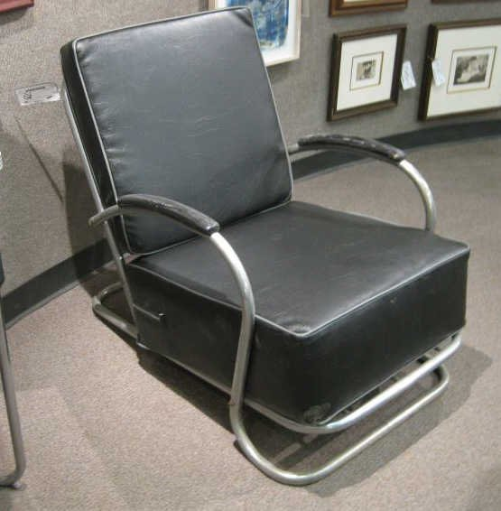78: ART DECO TUBULAR CHROME LOUNGE CHAIR.