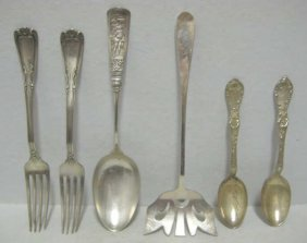 8: SIX AMERICAN STERLING SILVER FLATWARE PIECES