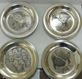 FOUR STERLING SILVER CHRISTMAS PLATES