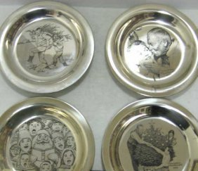 15: FOUR STERLING SILVER CHRISTMAS PLATES