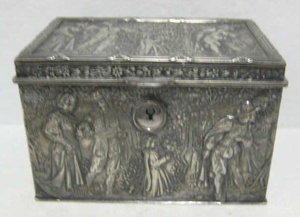 18: RENAISSANCE STYLE PLATED SILVER REPOUSSE BOX