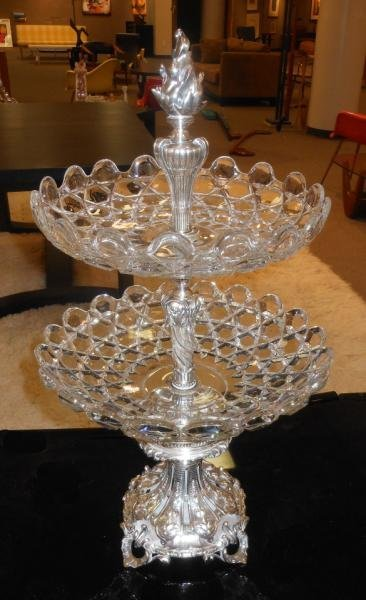 384: FRENCH CHRISTOFLE TWO-TIER CENTERPIECE/ SERVER