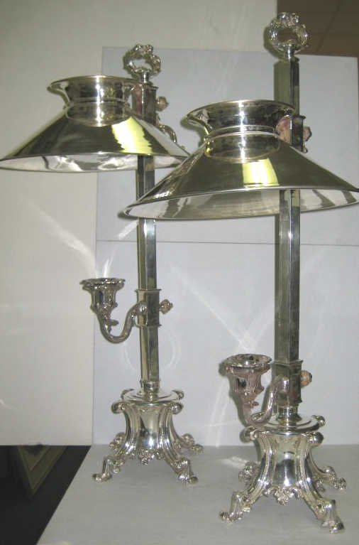 387: PAIR OF PLATED SILVER STUDENT CANDLE LAMPS