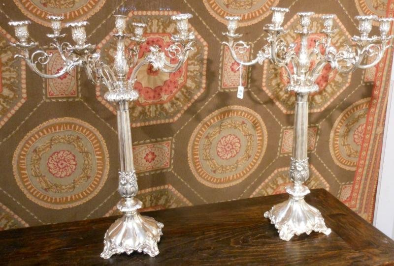 388: PAIR OF PLATED SILVER SEVEN-LIGHT CANDELABRA