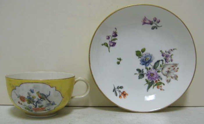391: MEISSEN PORCELAIN CUP AND SAUCER