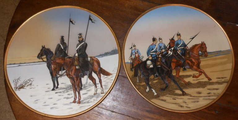 395: TWO V&B METTLACH MILITARY PLAQUES