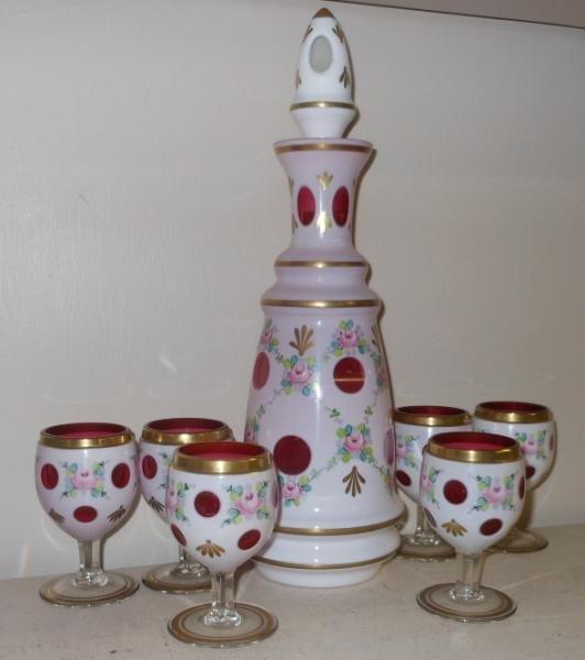 424: BOHEMIAN CASED GLASS LIQUOR SET
