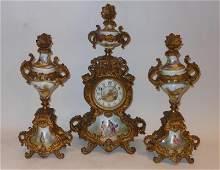 461: CONTINENTAL 19TH CENTURY CLOCK GARNITURE