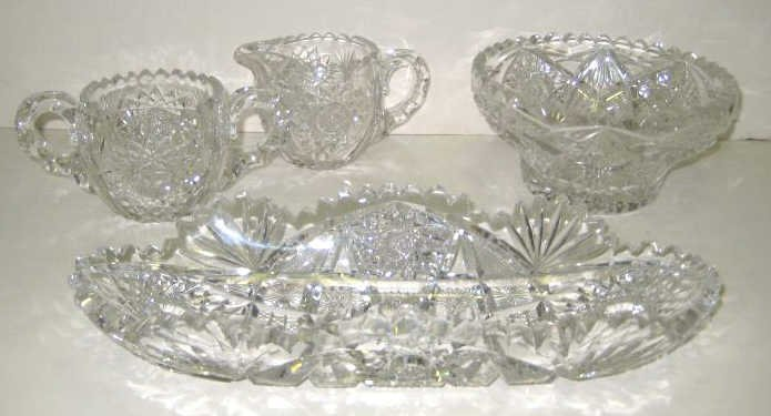 2: FOUR PIECES OF BRILLIANT CUT GLASS
