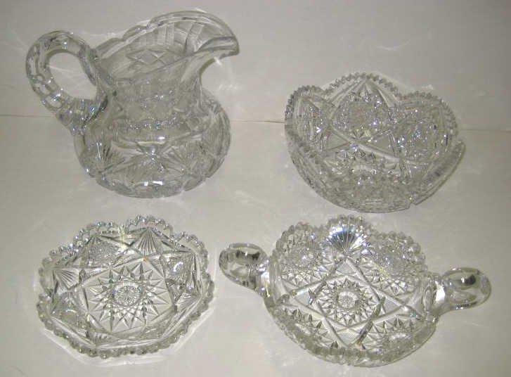 3: FOUR PIECES OF BRILLIANT CUT GLASS