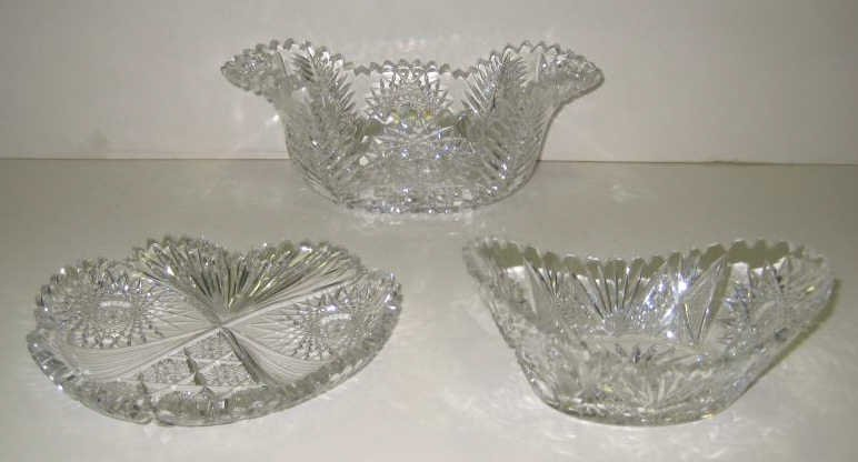 4: THREE PIECES OF AMERICAN CUT GLASS
