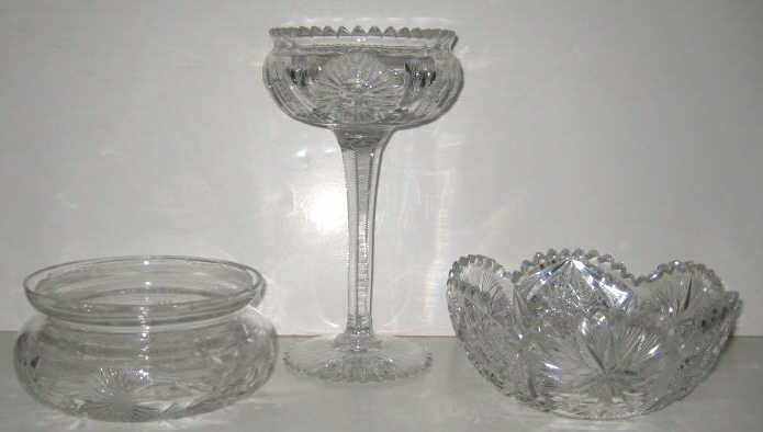 5: THREE PIECES CUT GLASS TABLE ARTICLES