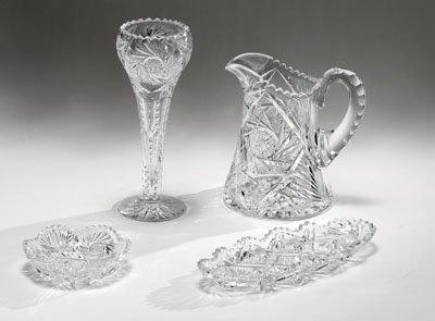 6: FOUR PIECES CUT GLASS TABLE ARTICLES