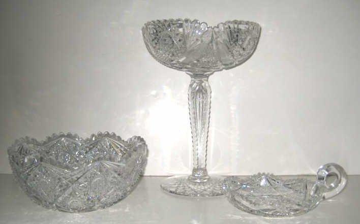 7: THREE PIECES OF BRILLIANT CUT GLASS