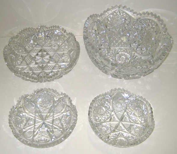 8: FOUR PIECES CUT BRILLIANT GLASS