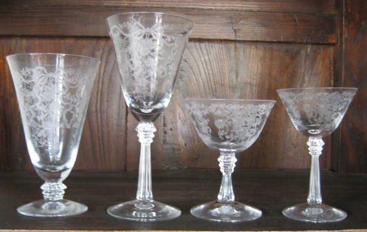 10: FOSTORIA  GLASS 'ROMANCE' STEMWARE SERVICE