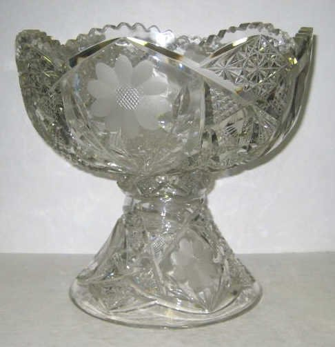 11: BOHEMIAN CUT GLASS PUNCH BOWL ON STAND