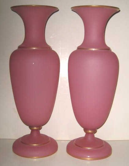 12: PAIR OF FROSTED PINK OPALINE GLASS VASES