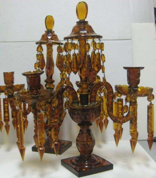16: PAIR OF ENGLISH AMBER GLASS CANDELABRA