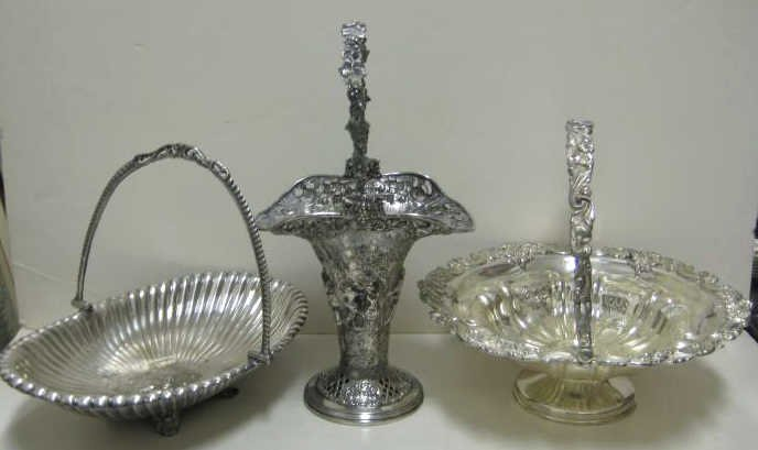 18: THREE VICTORIAN PLATED SILVER BASKETS