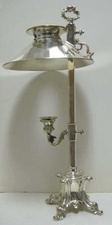 19: PLATED SILVER STUDENT CANDLE LAMP