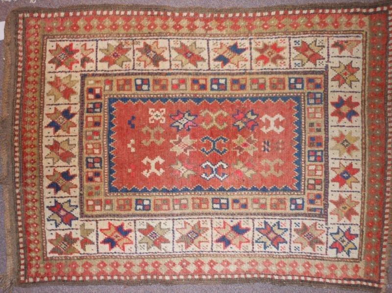 532: PERSIAN CAUCASIAN HANDWOVEN WOOL THROW RUG