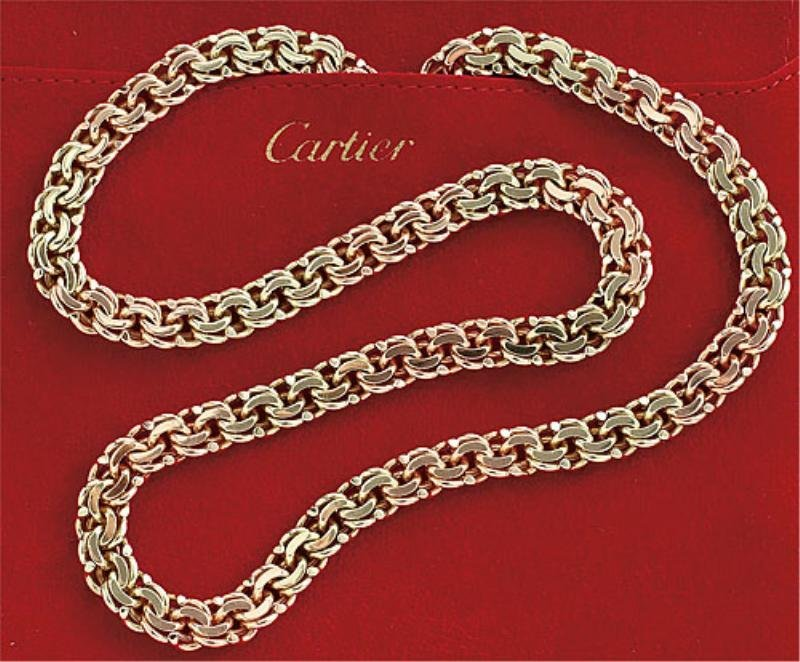 730: ROSE AND GREEN GOLD CHAIN NECKLACE CARTIER