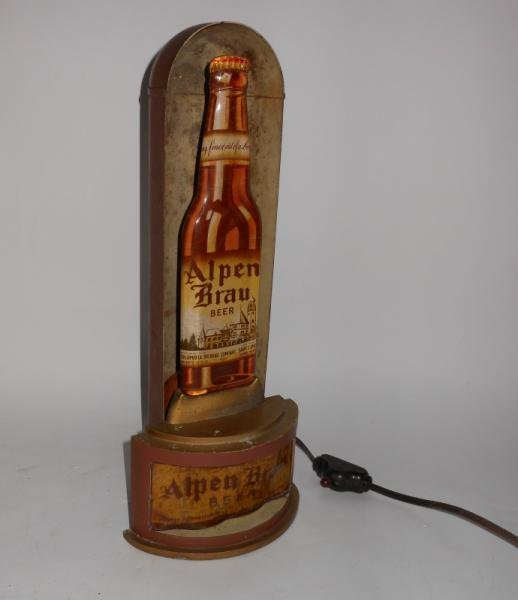 ALPEN BRAU Beer 1930s halo bullet beer sign,