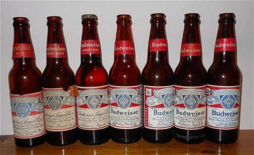 Seven Vintage Budweiser Amber Bottles