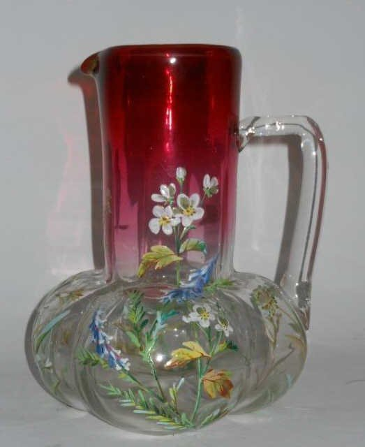 CONTINENTAL ENAMELED GLASS PITCHER,