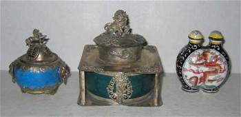 THREE PIECES OF ASIAN SILVER AND ENAMEL