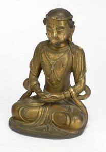 FINE GILT-BRONZE BUDDHIST FIGURE, 18TH CENTURY