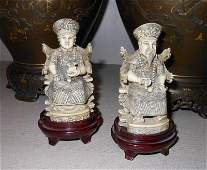 PAIR OF CHINESE IVORY FIGURES, EMPEROR AND EMPRESS