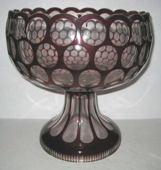 CRANBERRY OVERLAY GLASS PEDESTAL BOWL