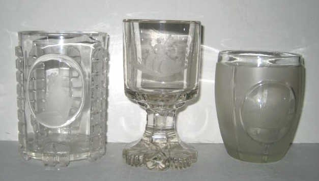 THREE PIECES BIEDERMEIER COLORLESS DRINKING GLASS