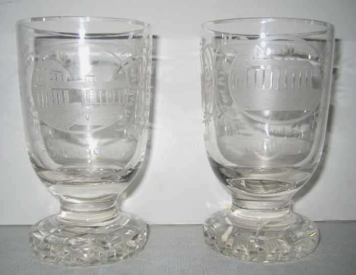 TWO BOHEMIAN GLASS SPA SOUVENIR GOBLETS
