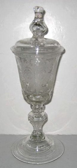 CONTINENTAL GLASS CEREMONIAL POKAL AND COVER